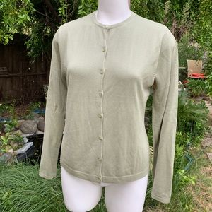 AUGUST SILK Light Green Rayon Blend Cardigan Sz Lg